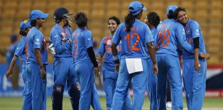 Indian players celebrate their win against Bangladesh during ICC Women's Twenty20 2016 Cricket World Cup match in Bangalore, India, Tuesday, March 15, 2016. India won the match by 72 runs. (AP Photo/Aijaz Rahi)