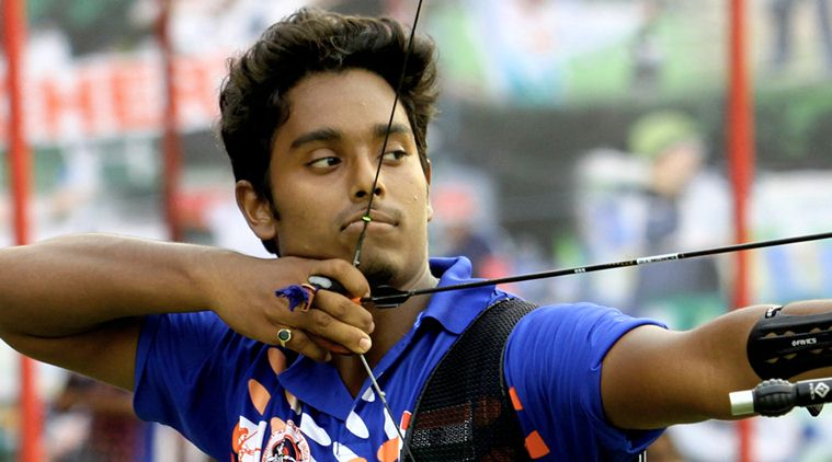 Archers Atanu Das at the finals of National Rankings Archery tournament at Yamuna sports complex in New Delhi on June 23rd 2013. (Image: Indian Express)