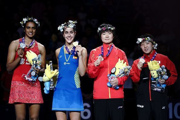 P V Sindhu settled for a silver after being defeated by Carolina Marina in 2018 BWF World Championship (Source: Badminton Photo)
