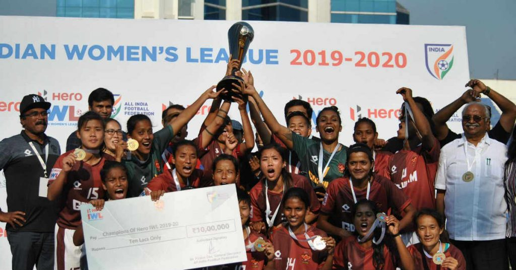 Gokulam Kerala defeated KRYPHSA in a thrilling final to clinch the IWL trophy for the first time. (Image: India Football/Twitter)