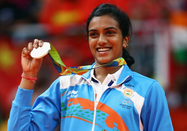 P V Sindhu winning the silver medal at the 2016 Rio Olympics (Image: Reuters)