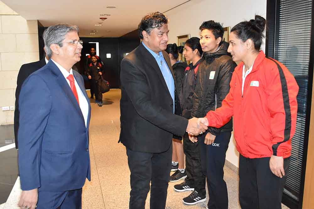 Indian Ambassador Mr Anwar Haleem passing on his best wishes to Indian boxers and Pooja Rani here on Friday in Amman ahead of her bout at the on going Olympic Qualifier