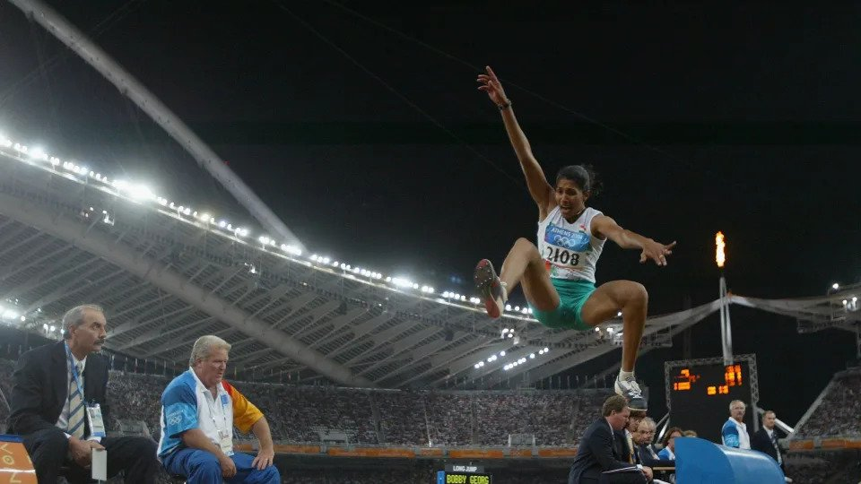 Anju Bobby George became the national record holder in long jump at 6.83m at the 2004 Athens Olympics (Source: Olympic Channel)