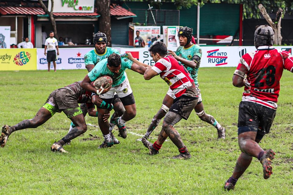 Rugby action unfolds on the field