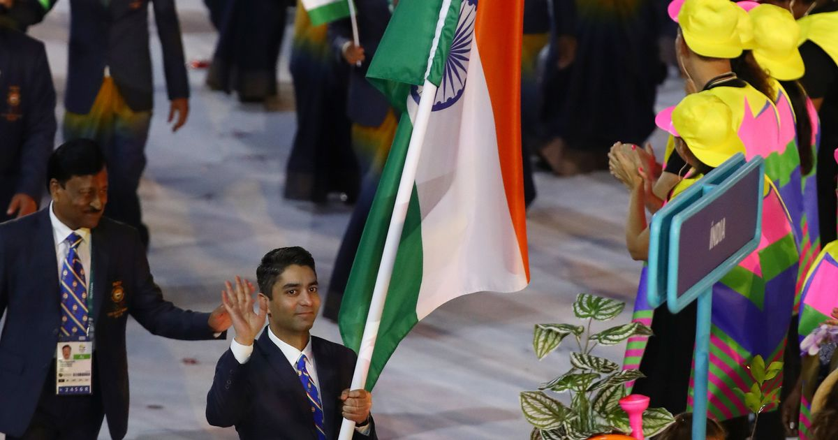 Abhinav Bindra of India carries the flag during the Opening Ceremony of the Rio 2016 Olympic Games.