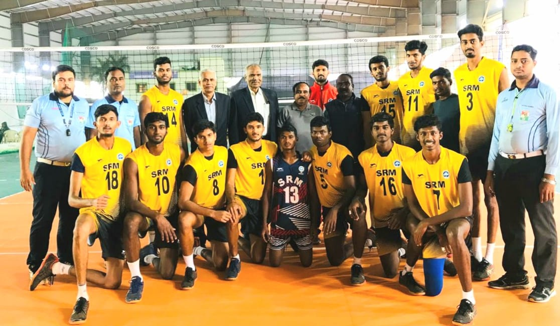 Sundaresan with SRM university in the All India inter university volleyball tournament at KIIT university (Source: Facebook)