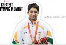 Shooter Abhinav Bindra's gold medal win at the 2008 Summer Olympics has been voted as India's Greatest Olympic Moment