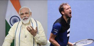 Narendra Modi and Daniel Medvedev