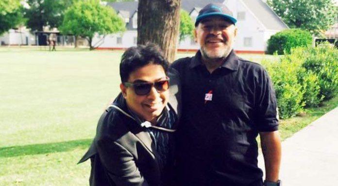 Satadru Dutta with Diego Maradona
