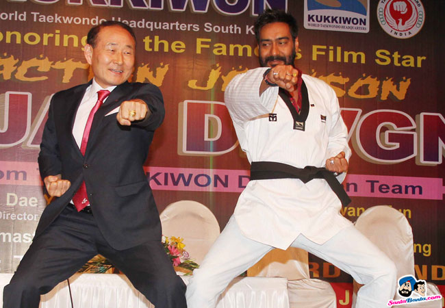 Ajay Devgn was honoured by Taekwondo masters from South Korea for his contribution to martial arts through his films