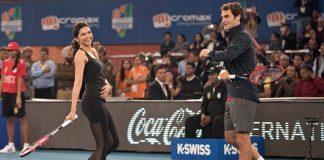 Deepika Padukone with tennis legend Roger Federer