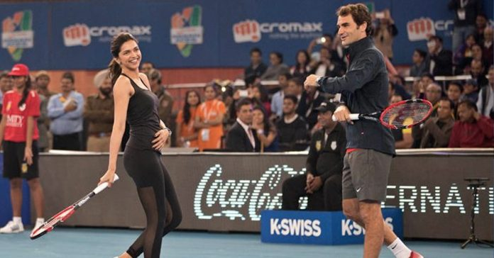 Deepika Padukone with tennis legend Roger Federer