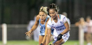 Indian women's hockey team in action against Argentina