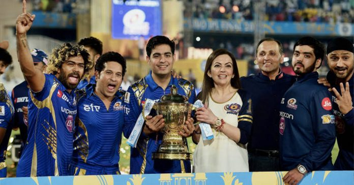 Nita Ambani and her son with Mumbai Indians